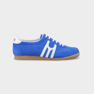 Zapatilla deportiva hecha a mano en Barcelona Mates Carmel Azul Blanco de lado
